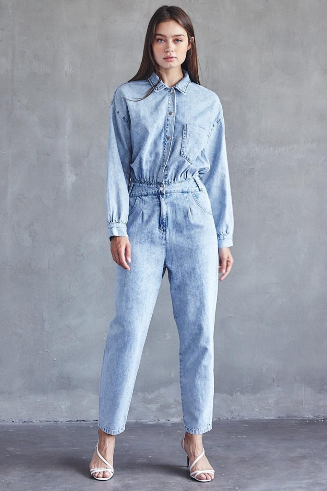 Idem Ditto  Collared Denim Jumpsuit - Front Cropped Image
