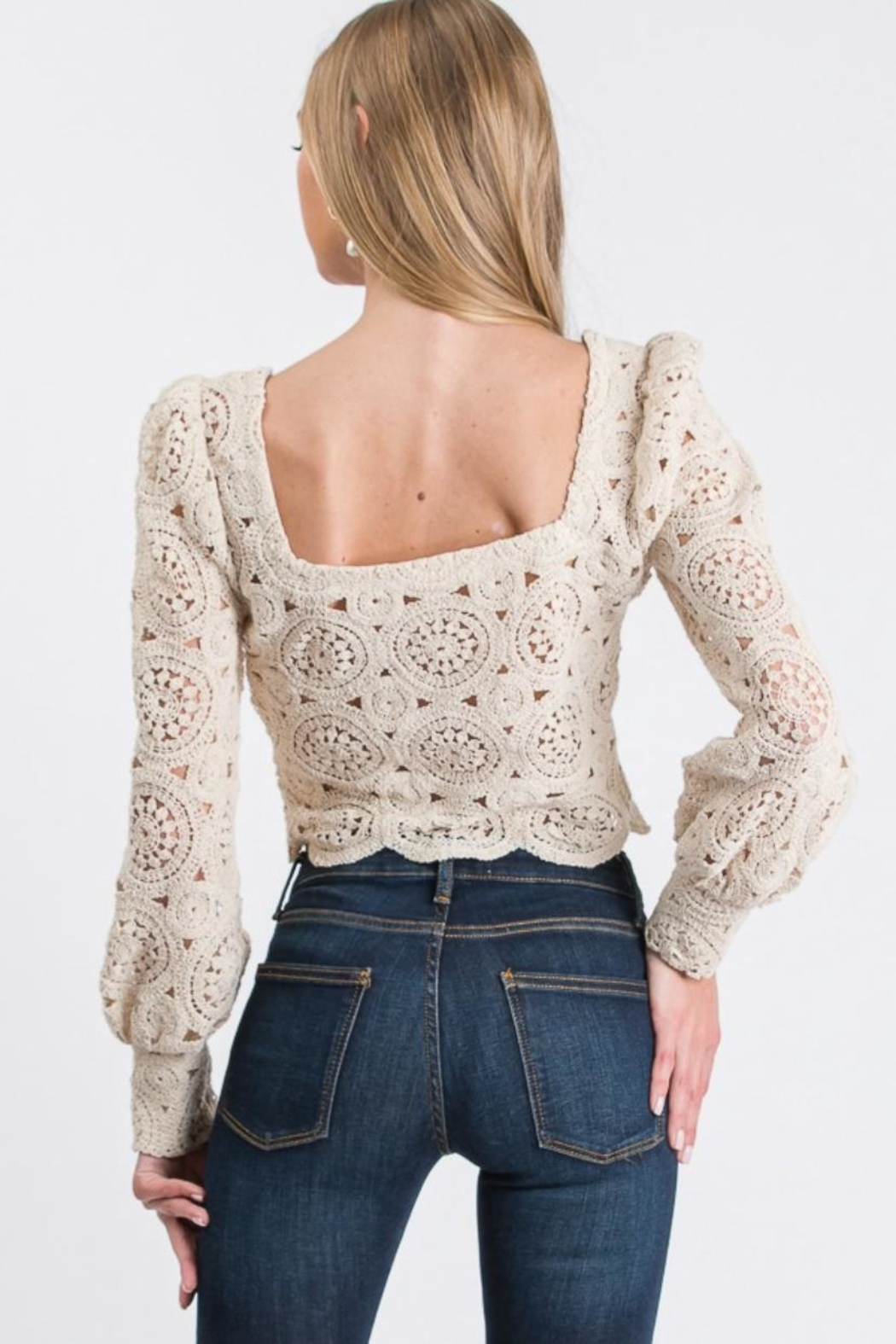 Idem Ditto  Crochet Knit Top - Front Full Image