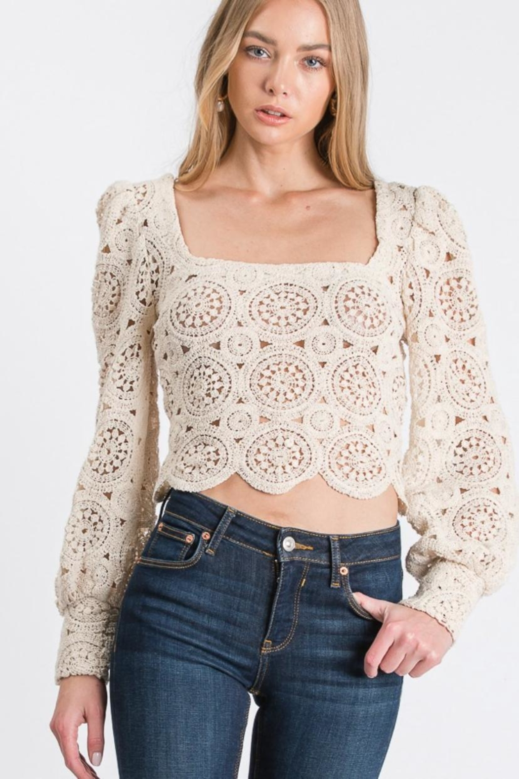 Idem Ditto  Crochet Knit Top - Main Image