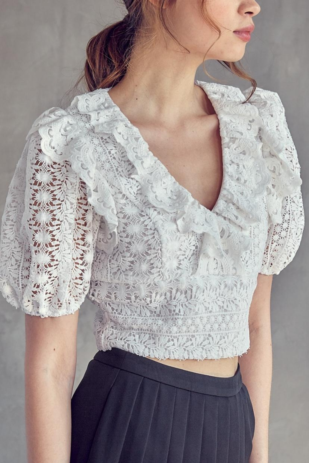 Idem Ditto  Crochet Lace Top - Front Full Image