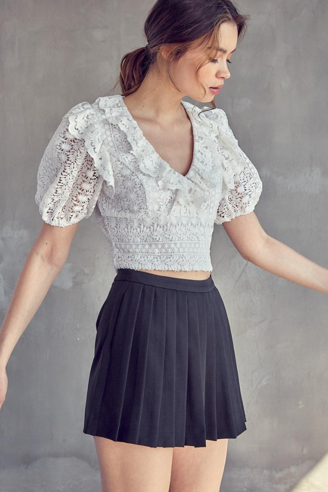 Idem Ditto  Crochet Lace Top - Side Cropped Image