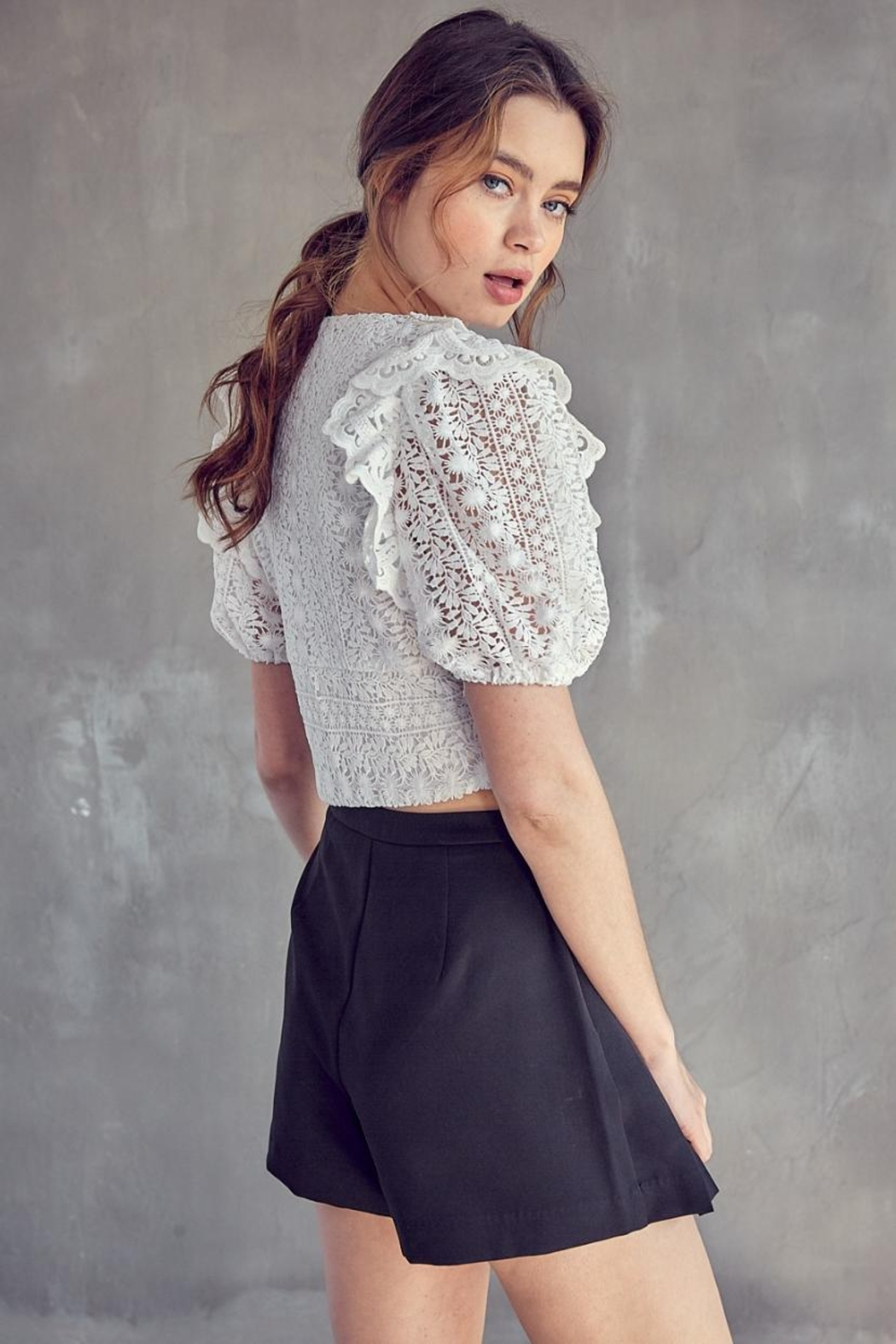 Idem Ditto  Crochet Lace Top - Back Cropped Image