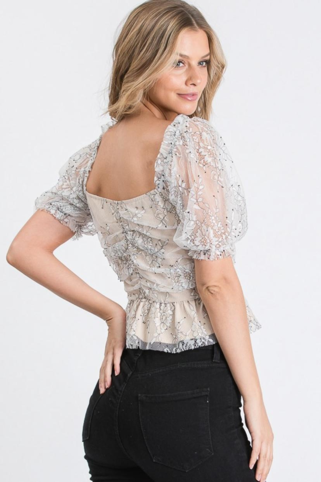Idem Ditto  Floral Lace Blouse - Front Full Image