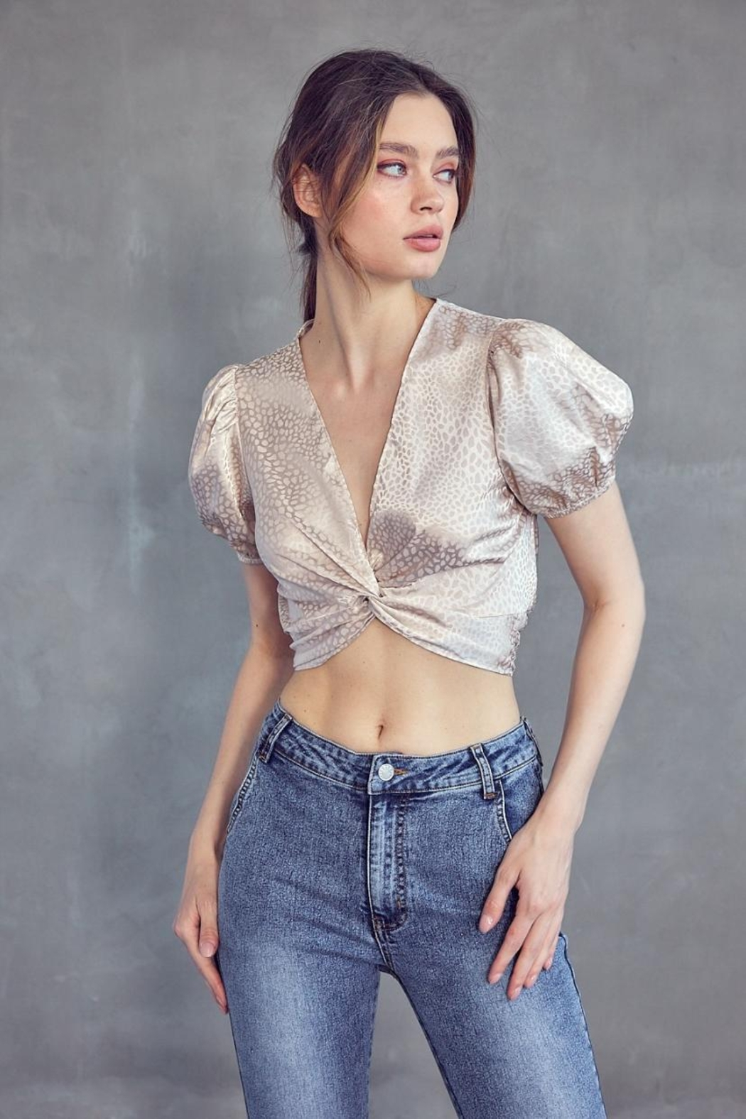Idem Ditto  Jacquard Crop Top - Front Full Image