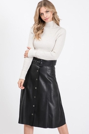 Idem Ditto  Leather Midi Skirt - Product Mini Image