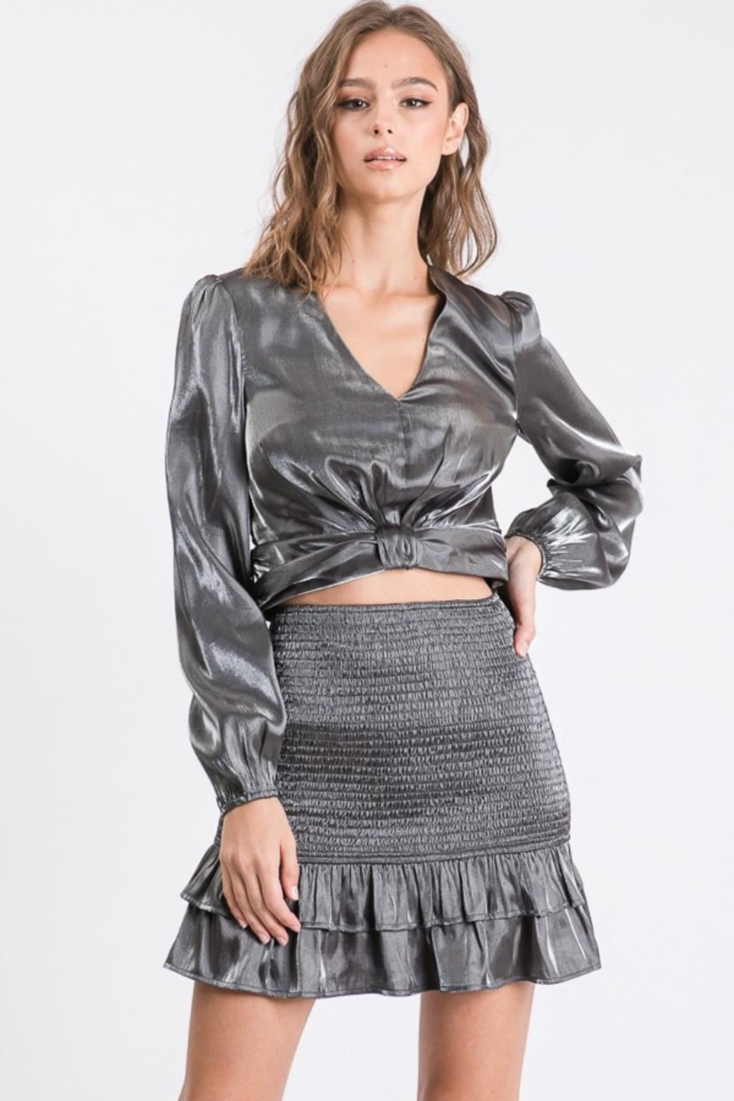 Idem Ditto  Metallic Charcoal Top - Front Cropped Image