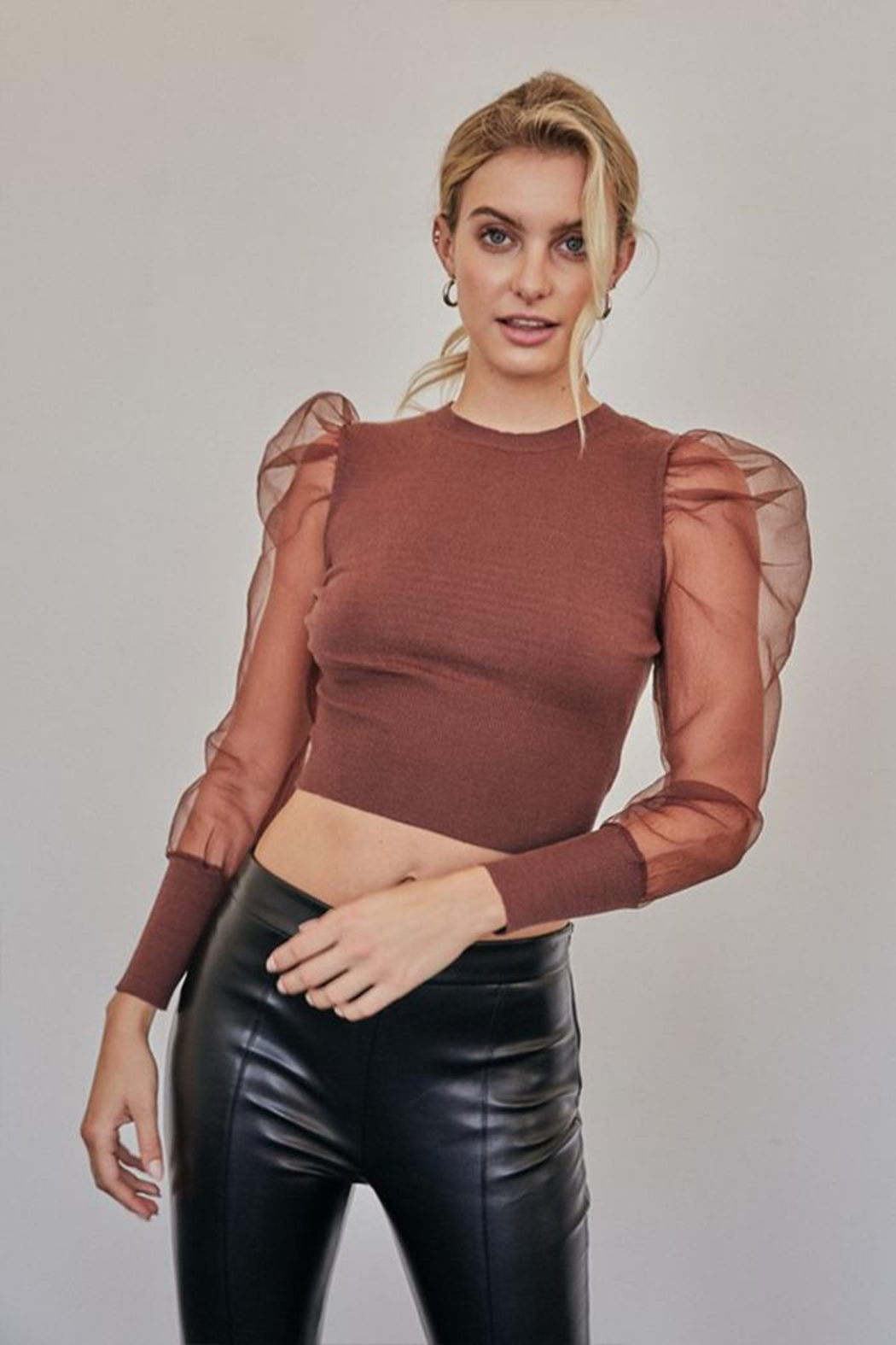 Idem Ditto  Organza Fitted Sweater - Front Full Image