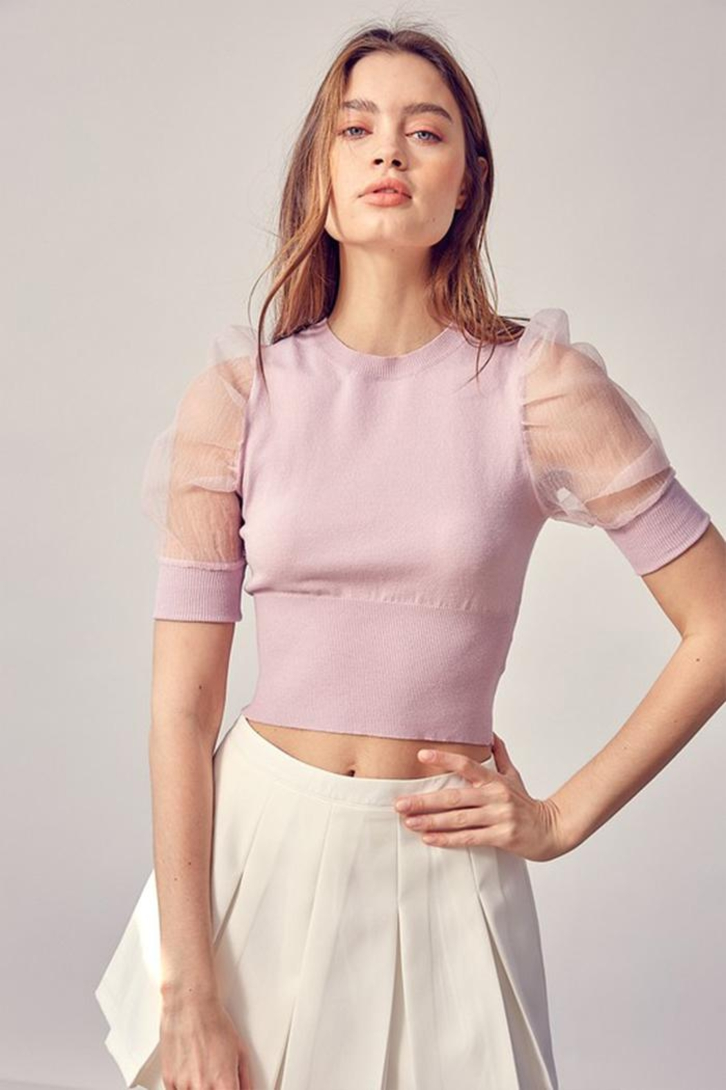 Idem Ditto  Organza Puff-Sleeve Top - Front Cropped Image