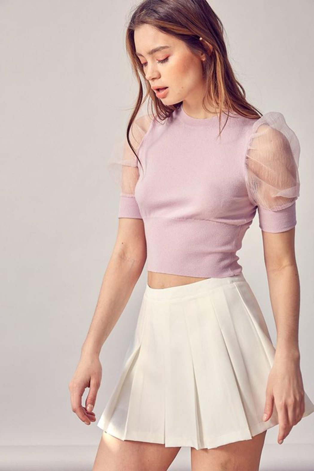 Idem Ditto  Organza Puff-Sleeve Top - Front Full Image