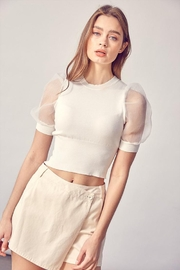 Idem Ditto  Organza Puff-Sleeve Top - Front cropped