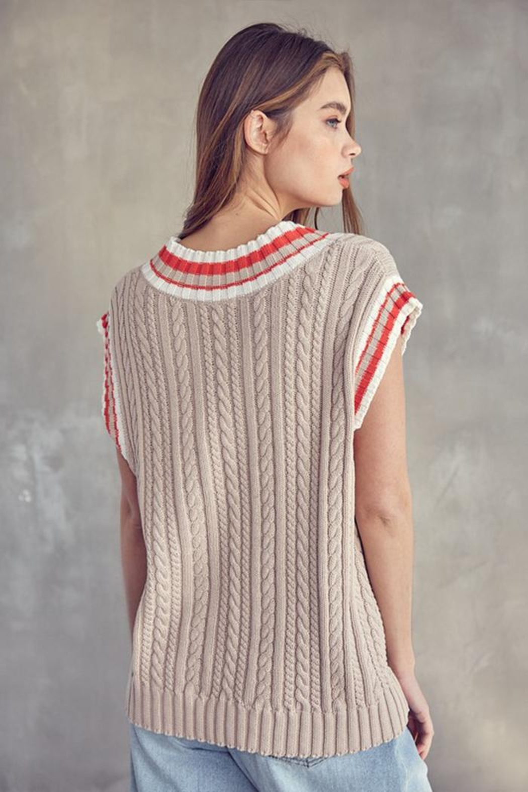 Idem Ditto  Oversized Sweater Vest - Back Cropped Image