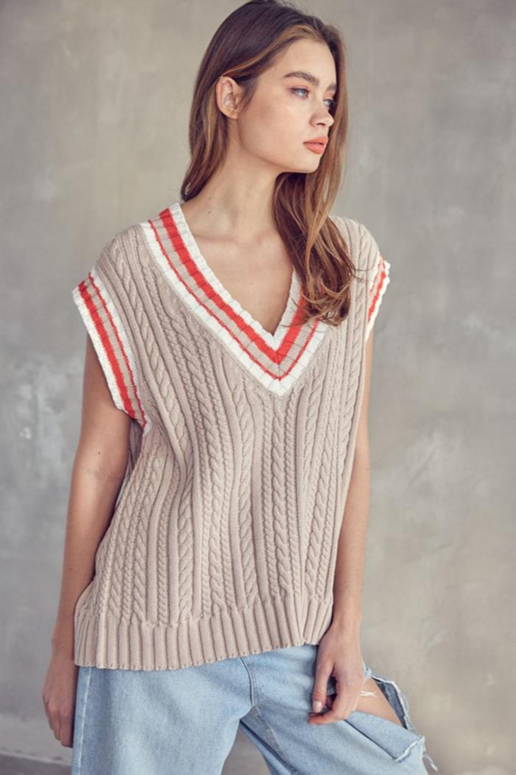 Idem Ditto  Oversized Sweater Vest - Front Full Image
