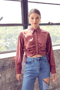 Idem Ditto  Ruched Button-Down Top - Product List Image