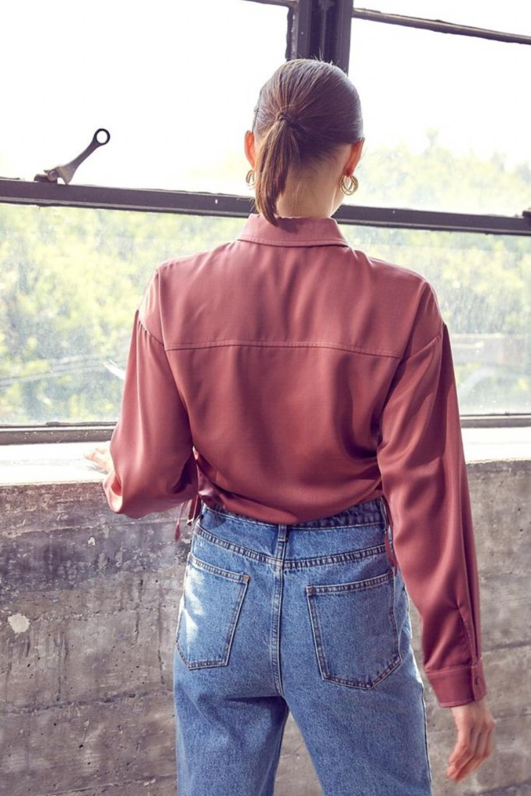 Idem Ditto  Ruched Button-Down Top - Back Cropped Image