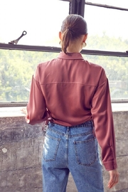 Idem Ditto  Ruched Button-Down Top - Back cropped