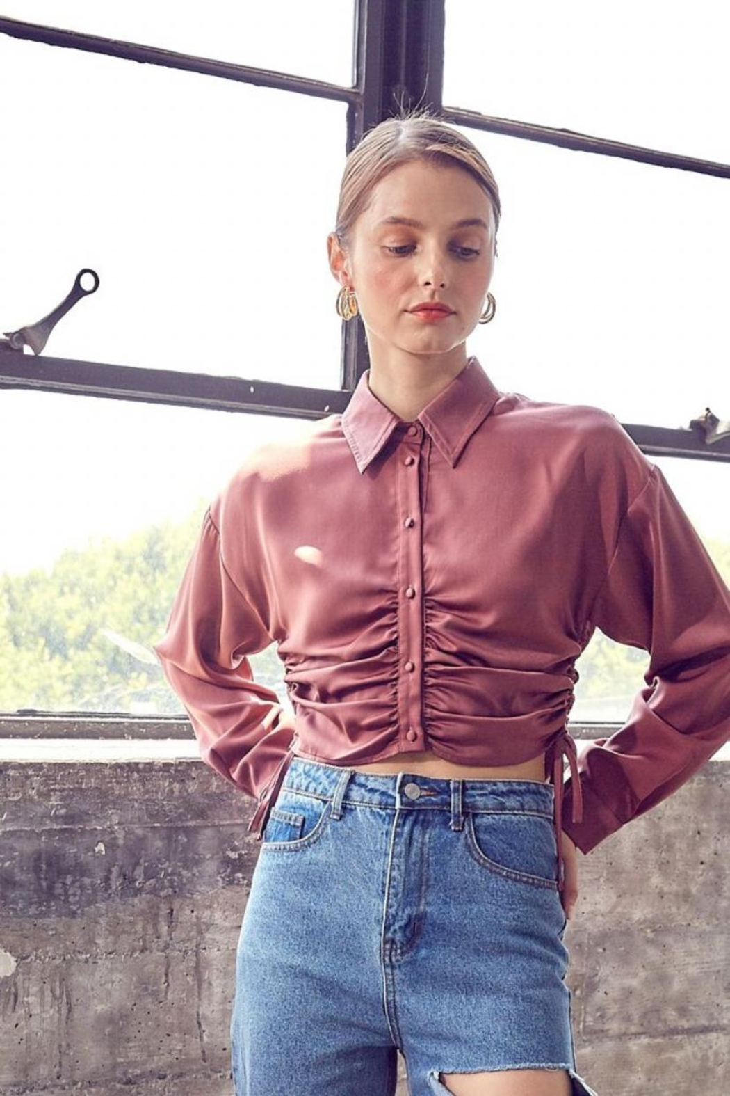 Idem Ditto  Ruched Button-Down Top - Front Full Image
