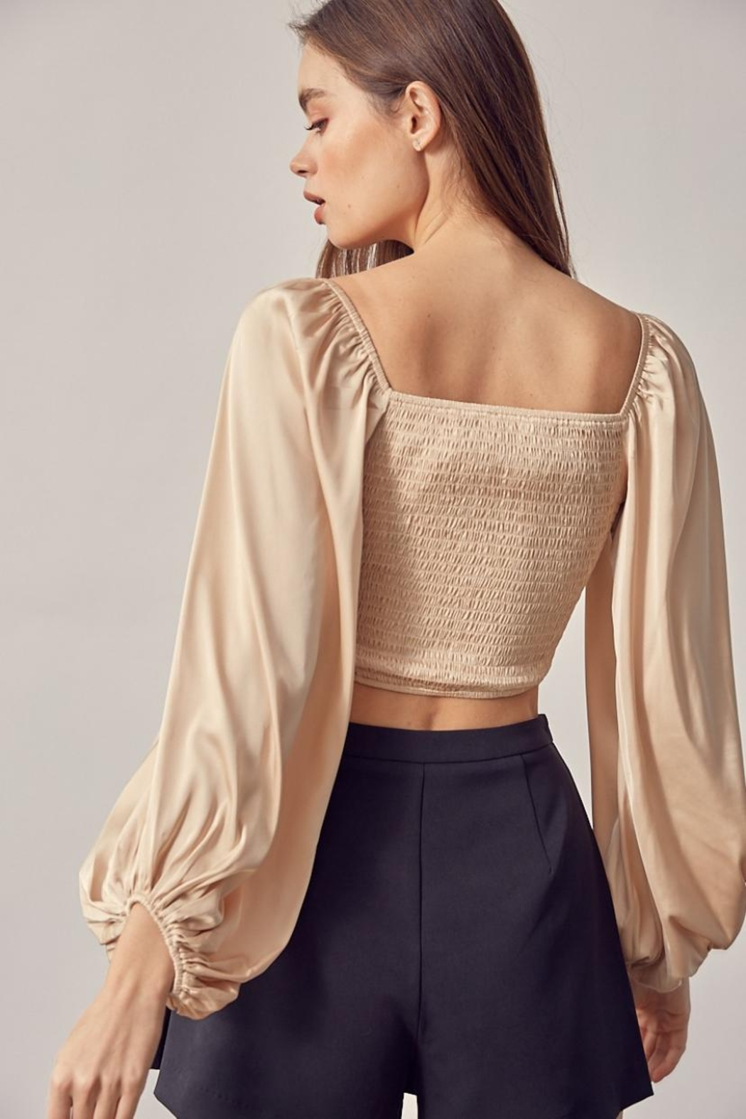 Idem Ditto  Ruched Satin Top - Side Cropped Image