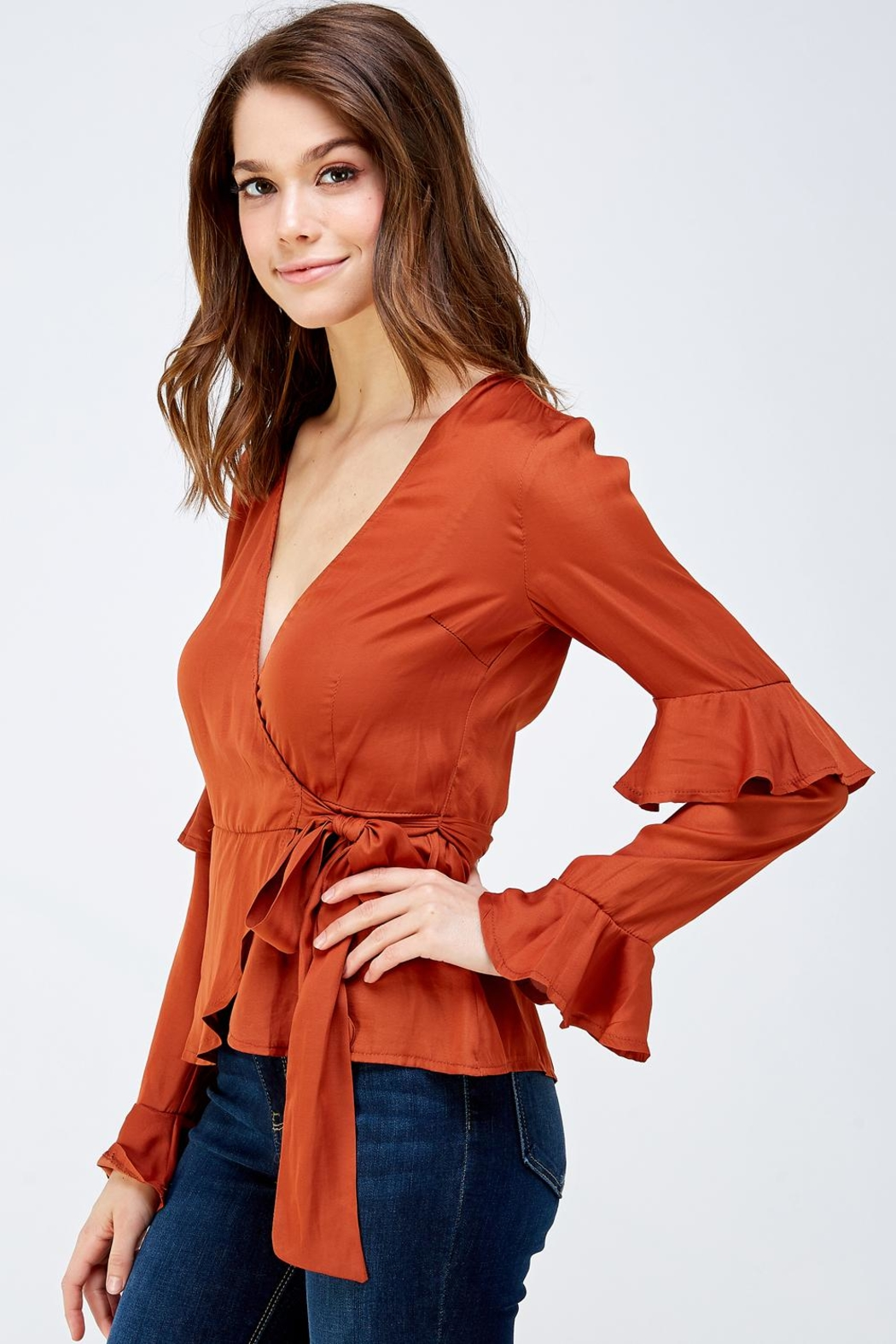 Idem Ditto  Rust Wrapped Blouse - Side Cropped Image