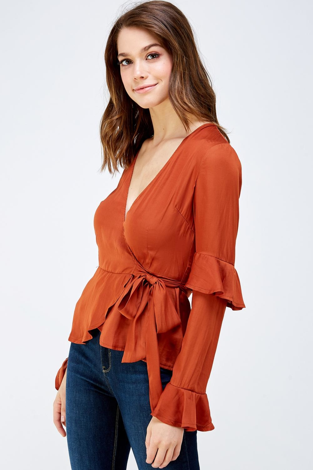 Idem Ditto  Rust Wrapped Blouse - Front Full Image