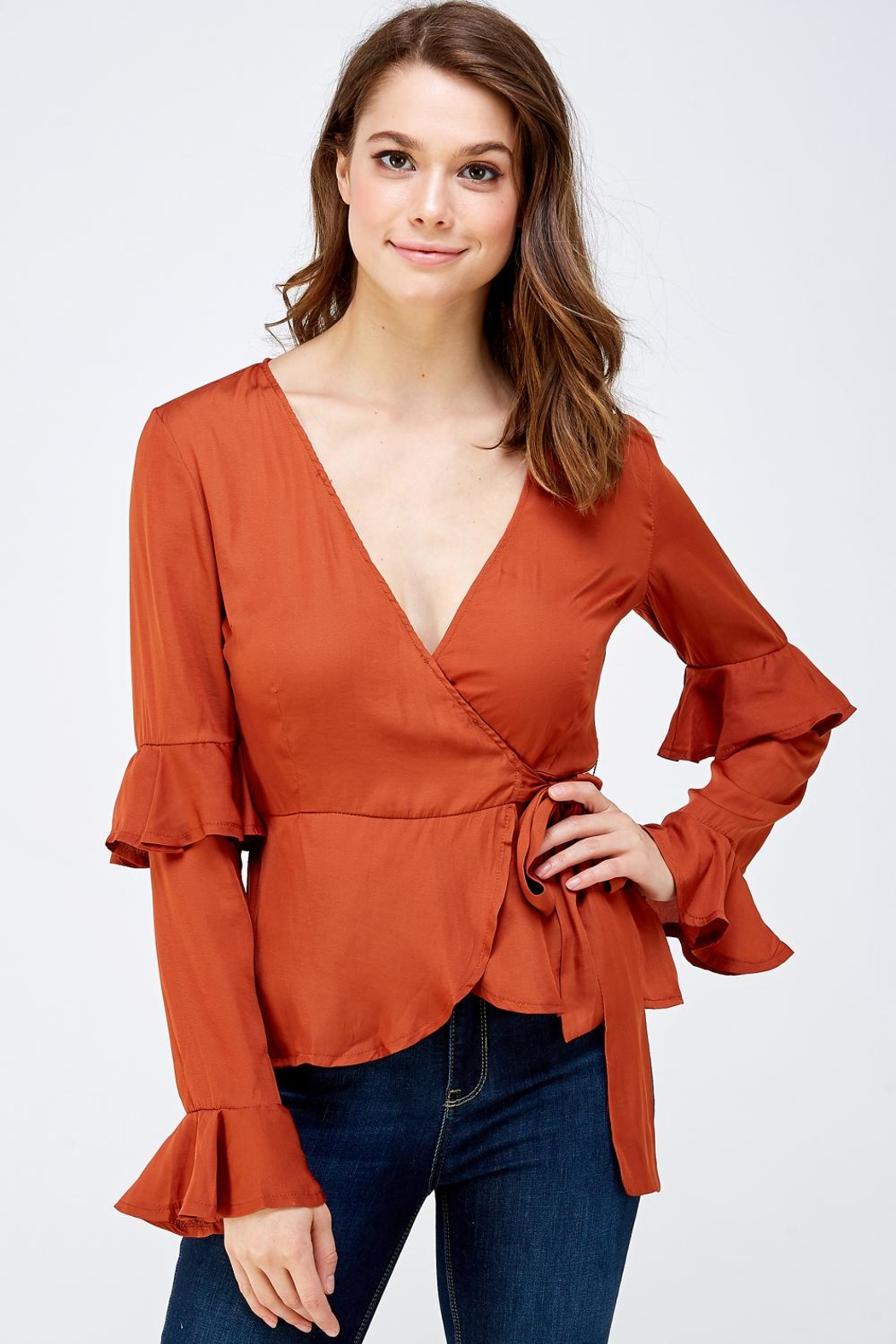 Idem Ditto  Rust Wrapped Blouse - Main Image