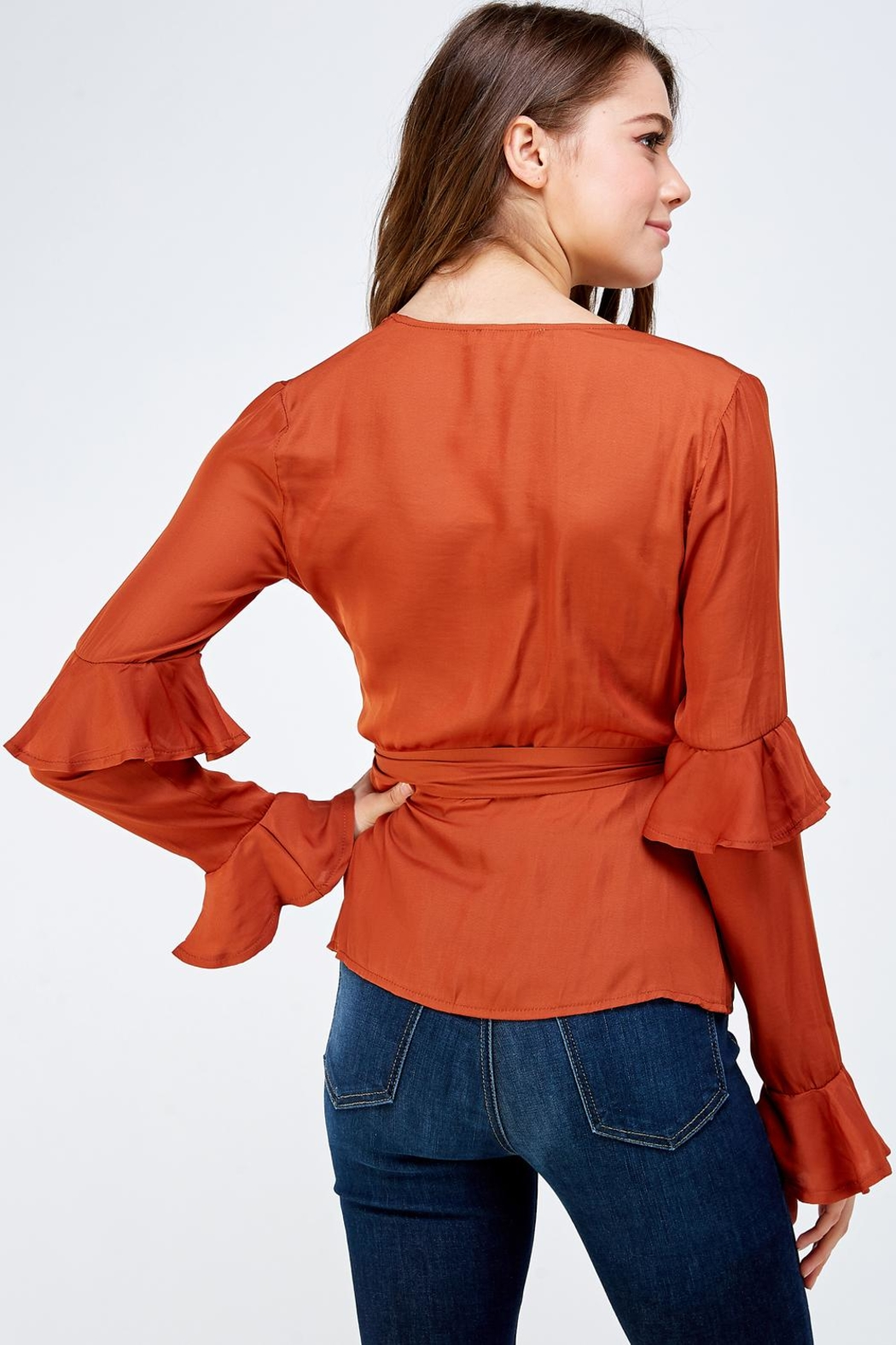 Idem Ditto  Rust Wrapped Blouse - Back Cropped Image