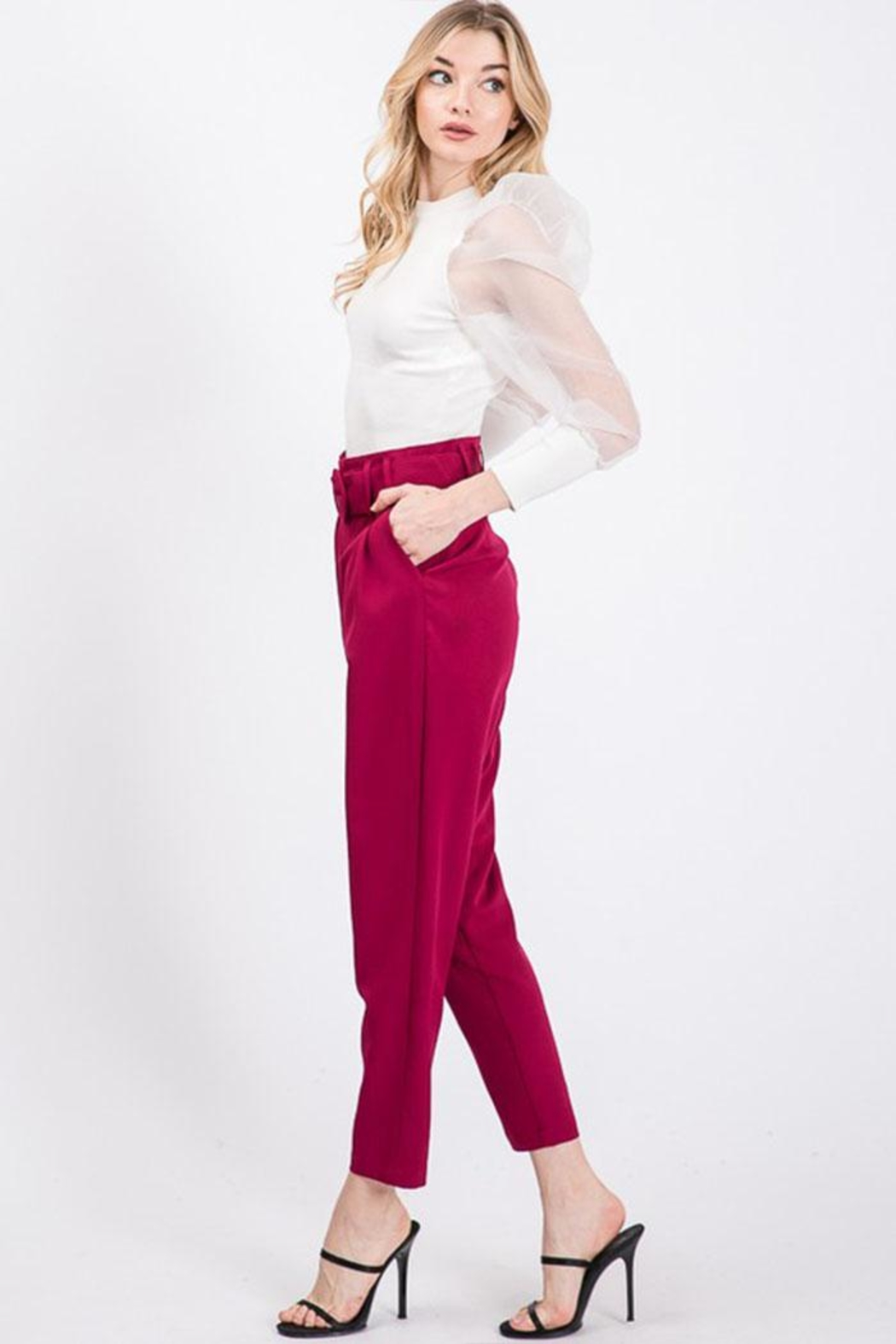 Idem Ditto  Semiformal Belted Pants - Front Cropped Image