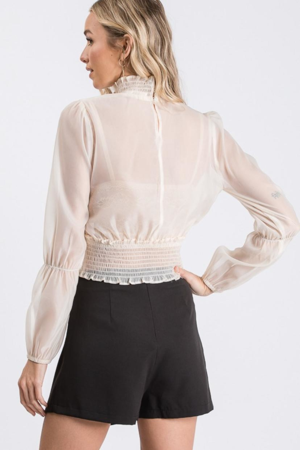 Idem Ditto  Sheer Blouse Top - Side Cropped Image