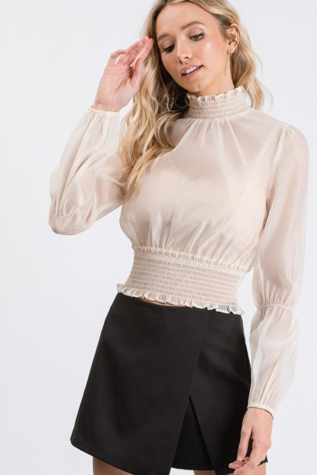 Idem Ditto  Sheer Blouse Top - Front Full Image