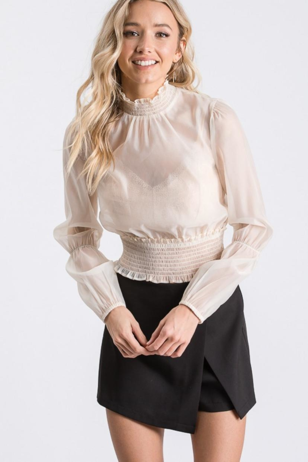 Idem Ditto  Sheer Blouse Top - Front Cropped Image