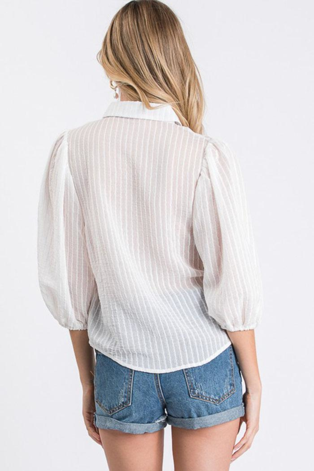 Idem Ditto  Sheer Button-Down Top - Back Cropped Image