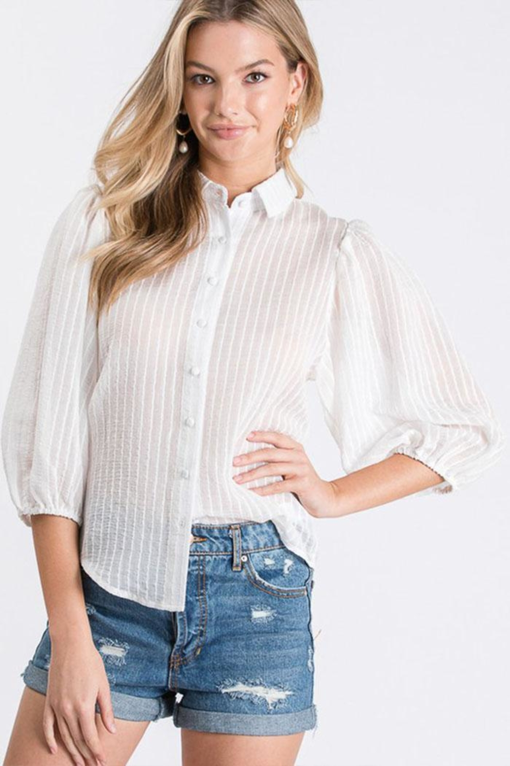Idem Ditto  Sheer Button-Down Top - Front Full Image