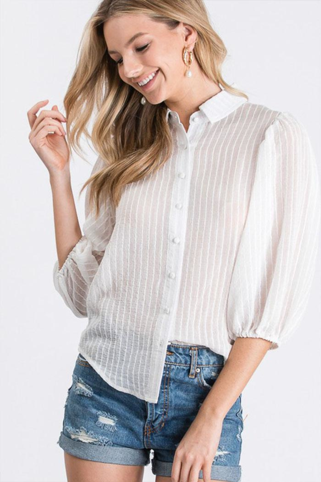 Idem Ditto  Sheer Button-Down Top - Main Image