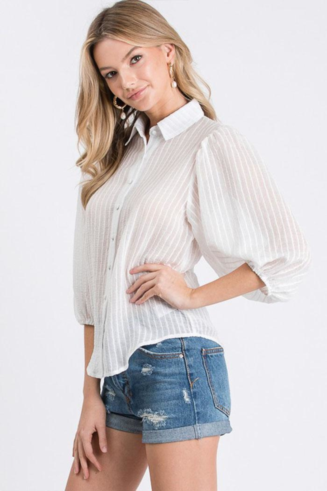 Idem Ditto  Sheer Button-Down Top - Side Cropped Image