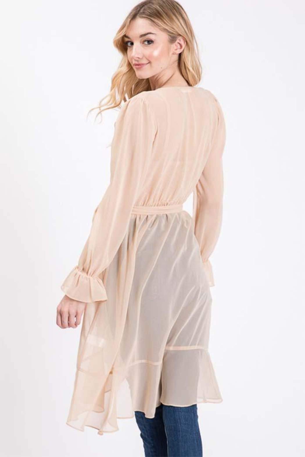 Idem Ditto  Sheer Cardigan Blouse - Front Full Image