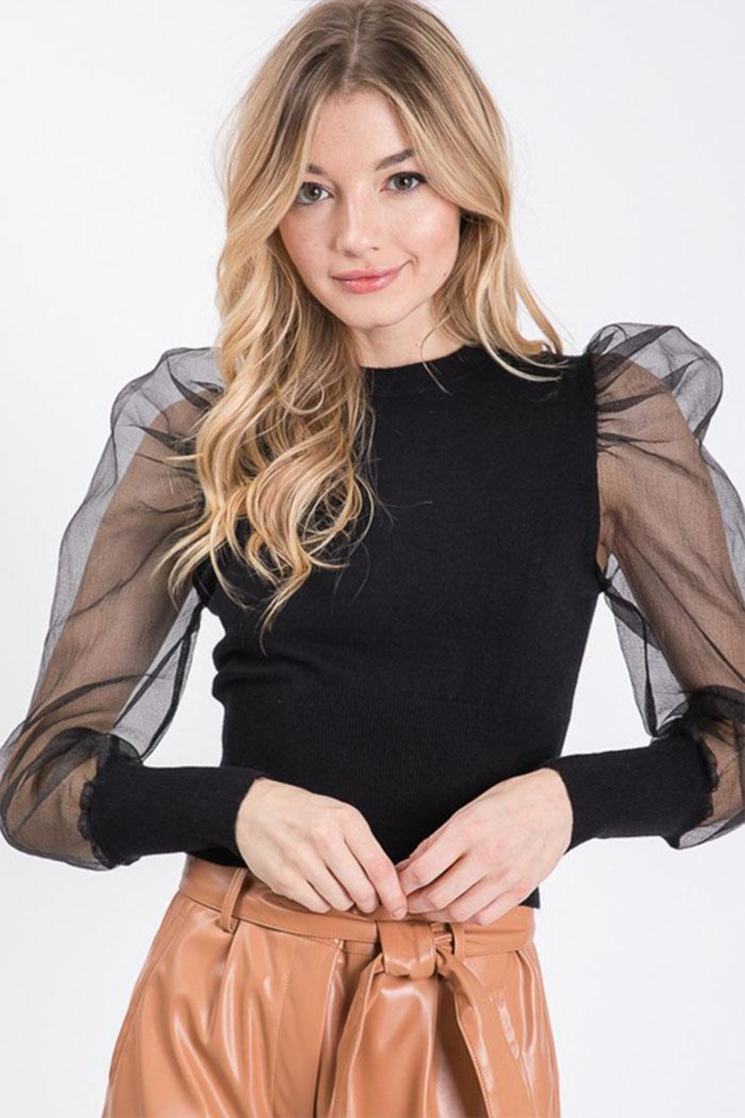 Idem Ditto  Sheer Sleeve Sweater - Front Cropped Image