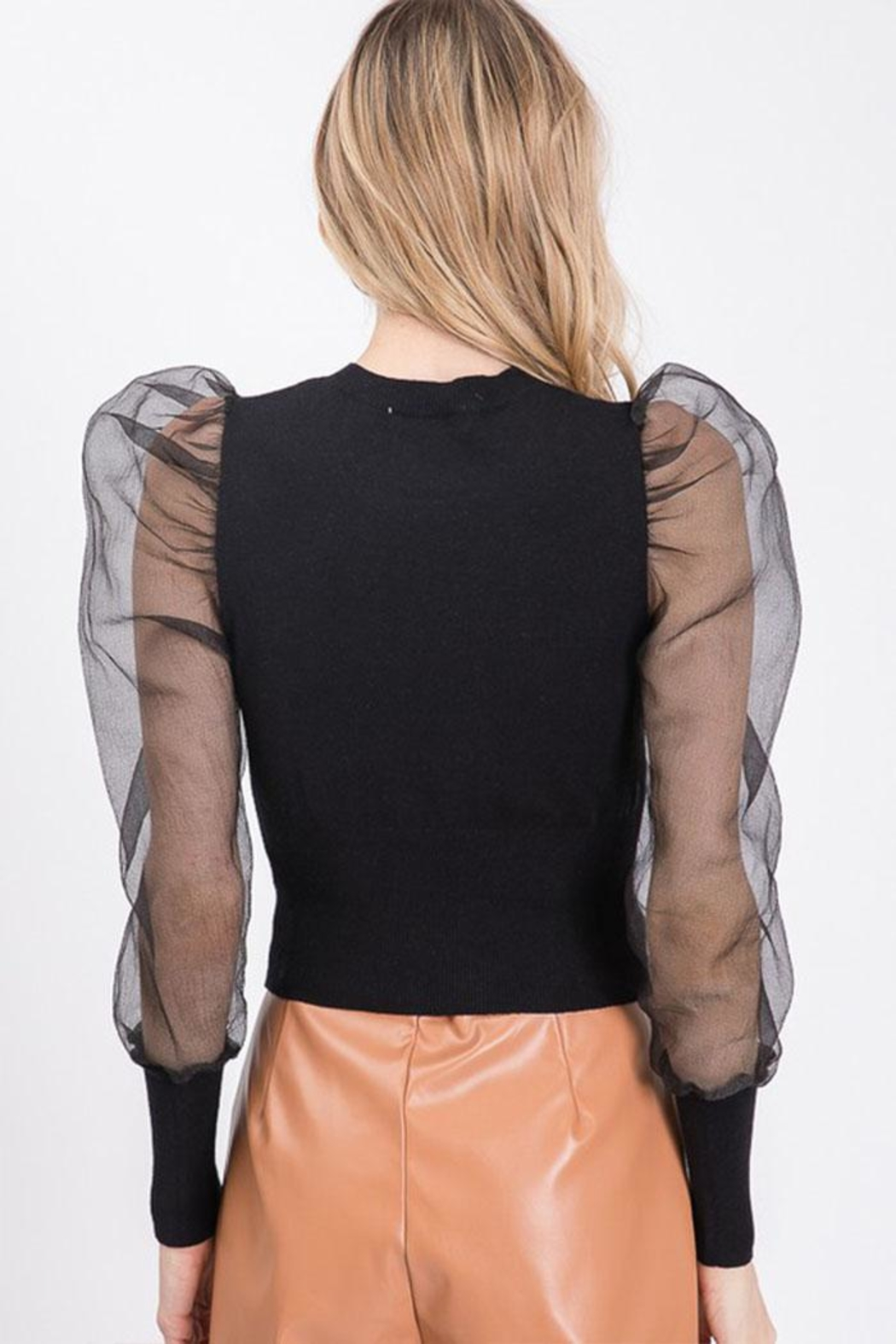 Idem Ditto  Sheer Sleeve Sweater - Side Cropped Image