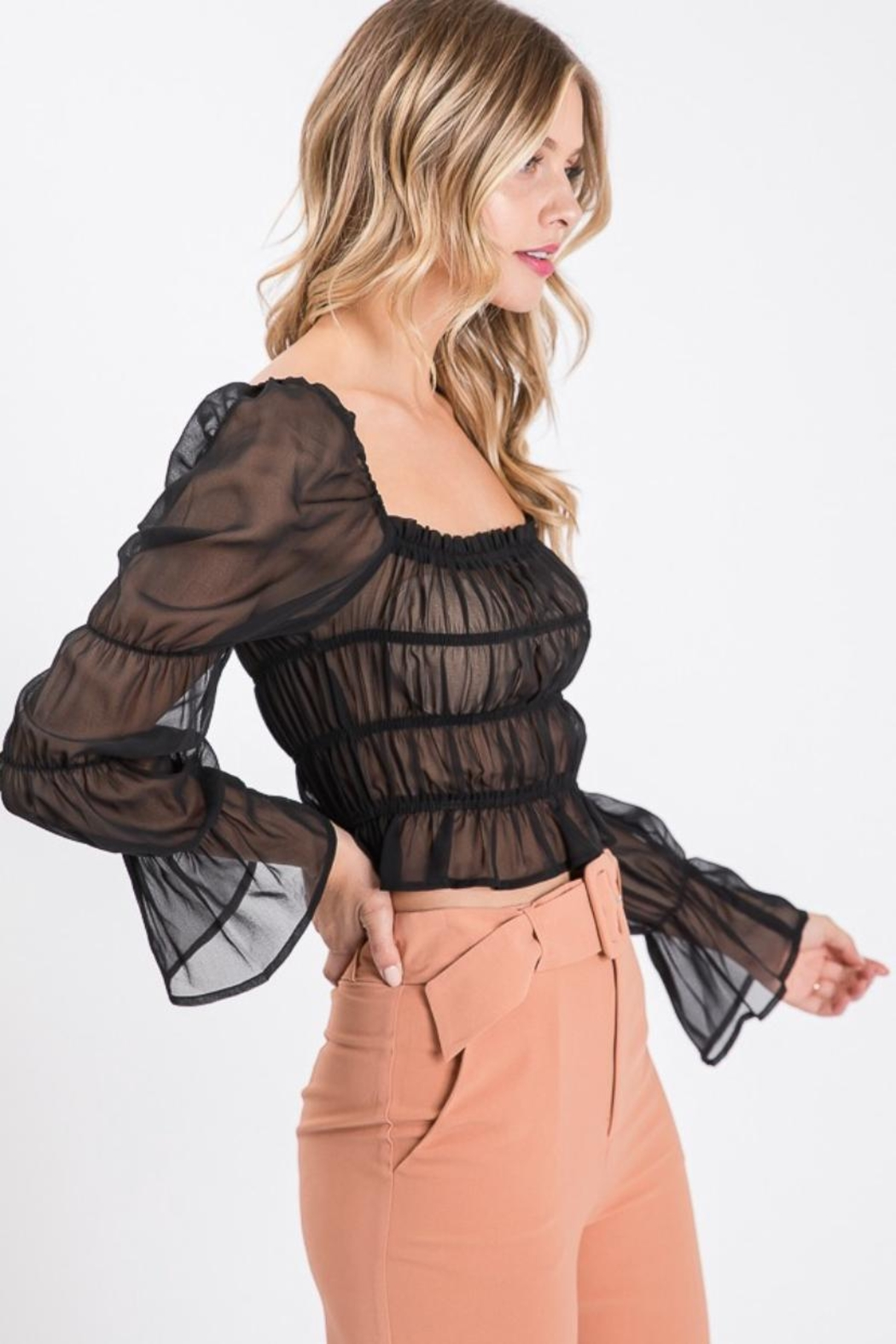 Idem Ditto  Shirring Blouse Top - Front Full Image