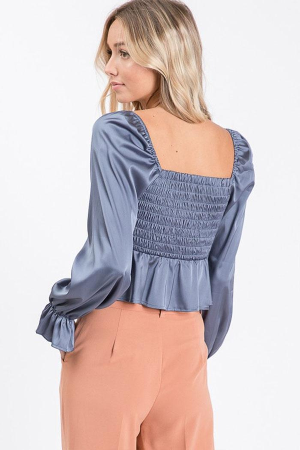 Idem Ditto  Square Neck Blouse - Back Cropped Image