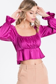 Idem Ditto  Square-Neck Satin Blouse - Front full body
