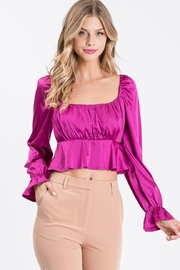 Idem Ditto  Square-Neck Satin Blouse - Product Mini Image