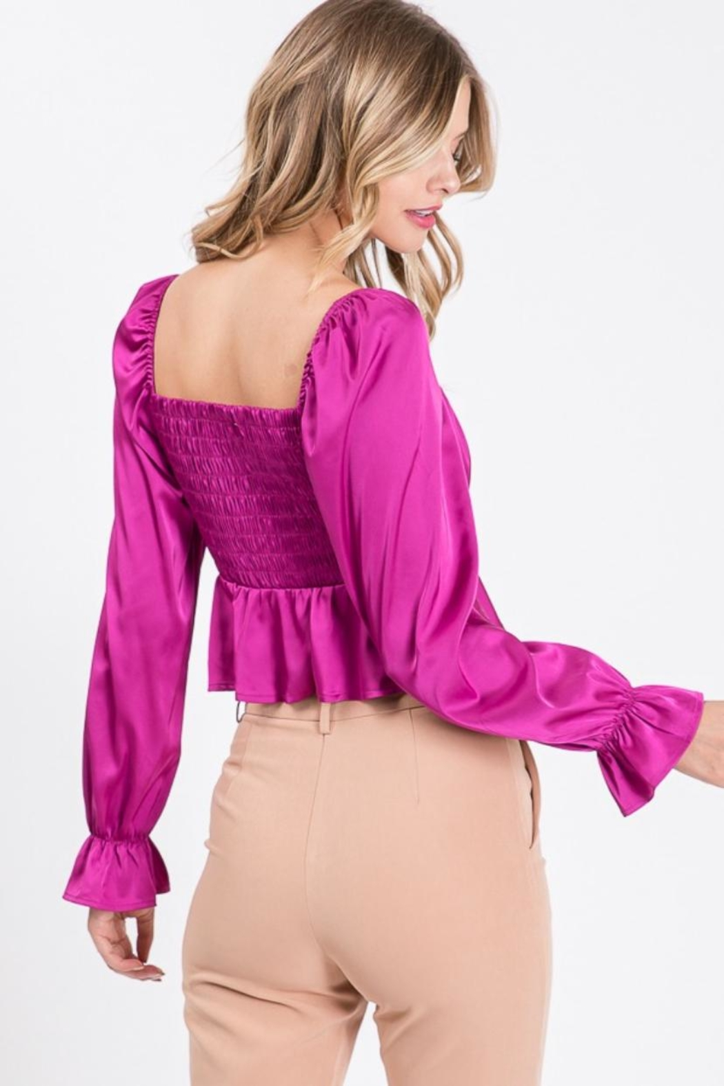 Idem Ditto  Square-Neck Satin Blouse - Side Cropped Image