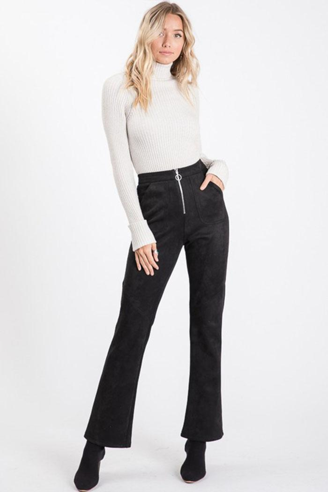 Idem Ditto  Suede Flare Pants - Front Full Image