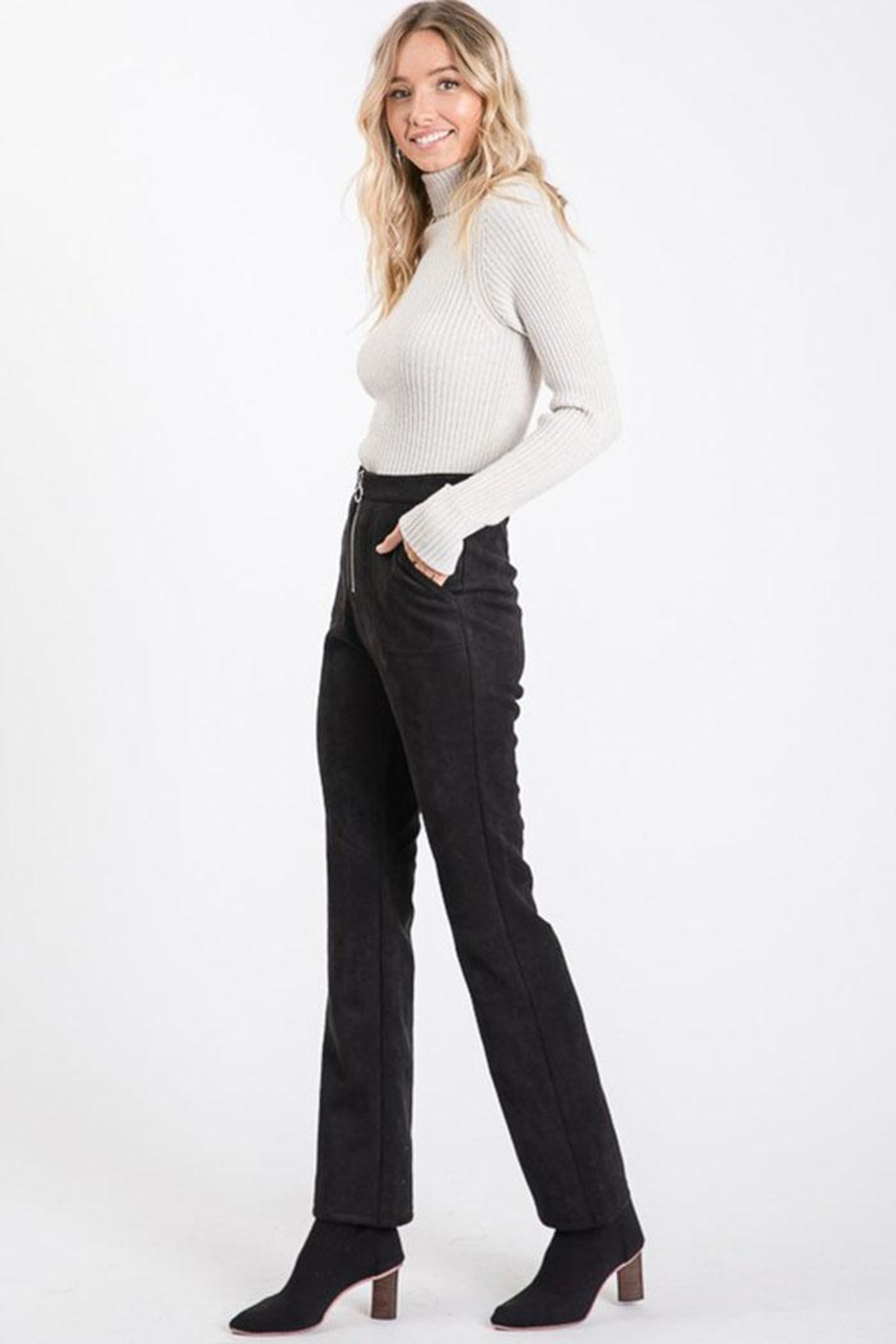 Idem Ditto  Suede Flare Pants - Side Cropped Image