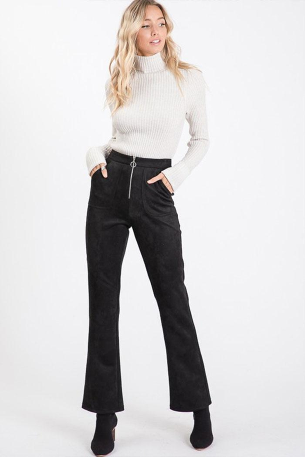 Idem Ditto  Suede Flare Pants - Main Image