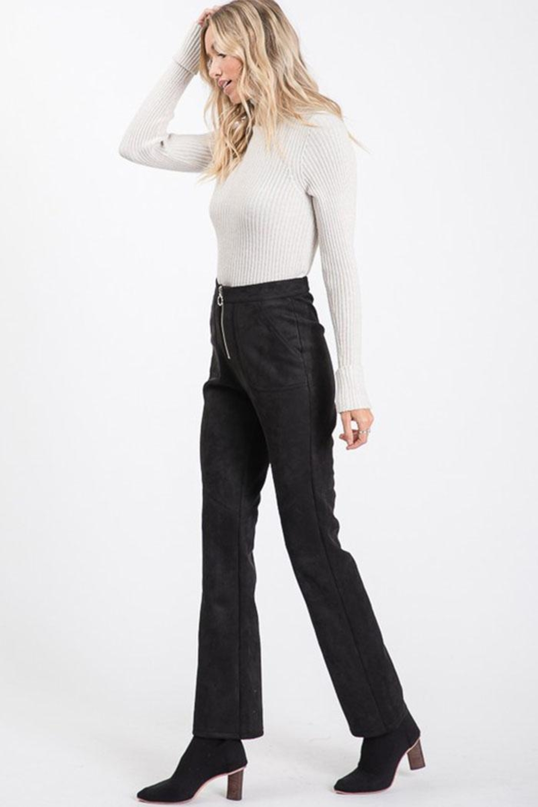 Idem Ditto  Suede Flare Pants - Back Cropped Image
