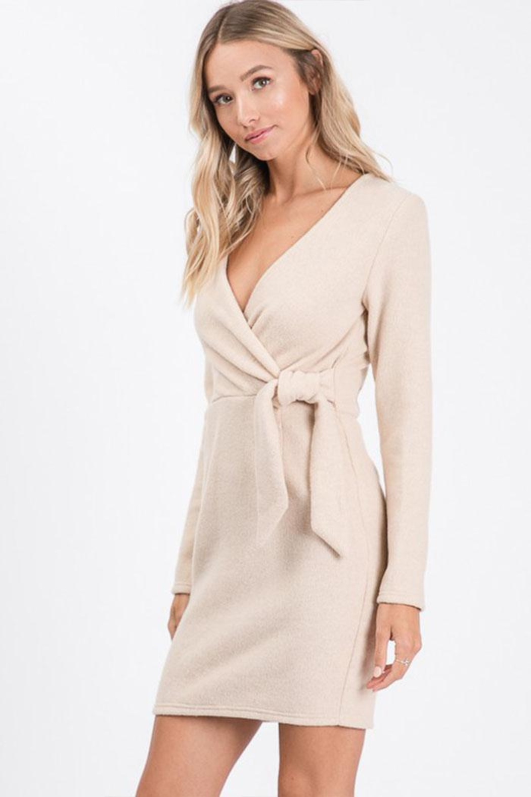 Idem Ditto  Wrap Sweater Dress - Side Cropped Image