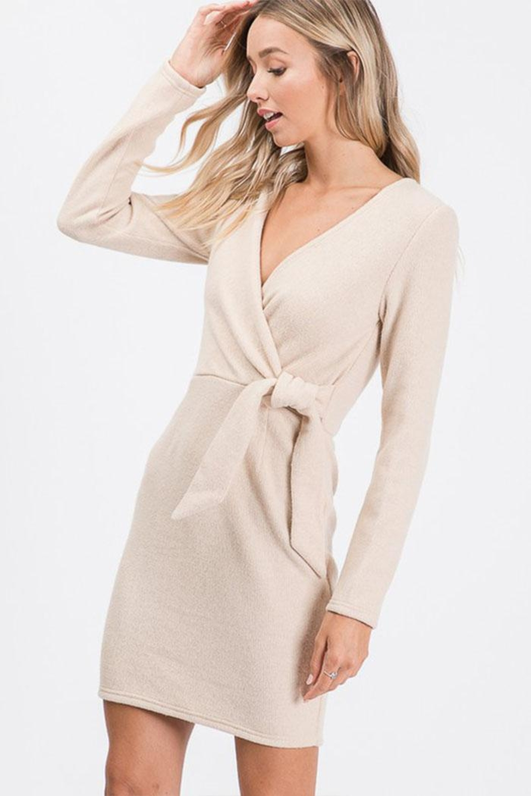 Idem Ditto  Wrap Sweater Dress - Front Full Image