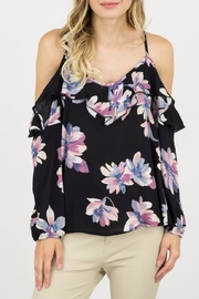 ijoah Floral Cold Shoulder Blouse - Front cropped