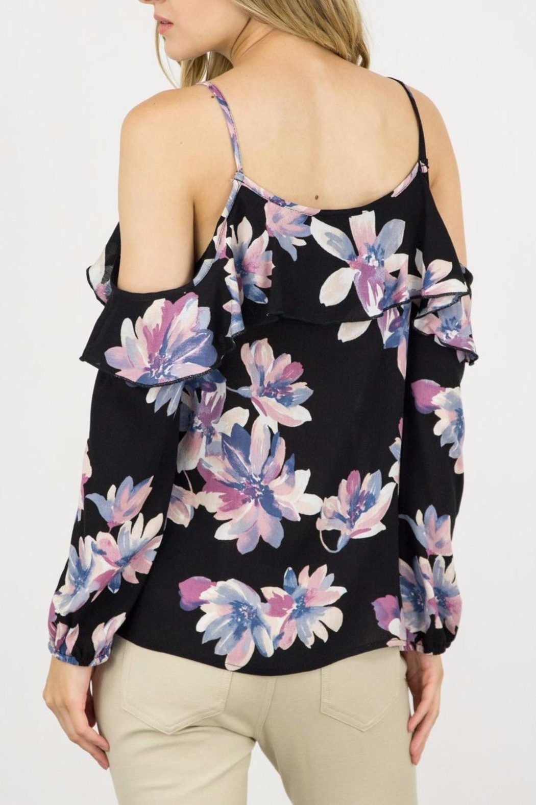 ijoah Floral Cold Shoulder Blouse - Front Full Image
