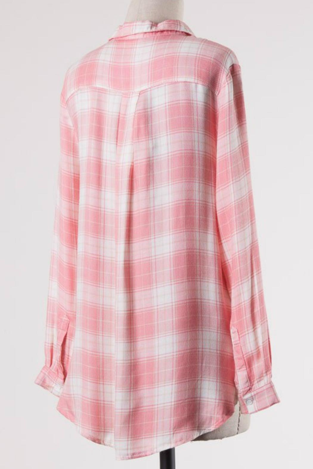 ijoah Pink Plaid Top - Front Full Image